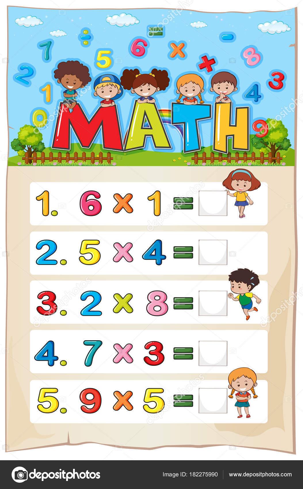 Plantilla de hoja de cálculo de matemáticas con los niños y los ...