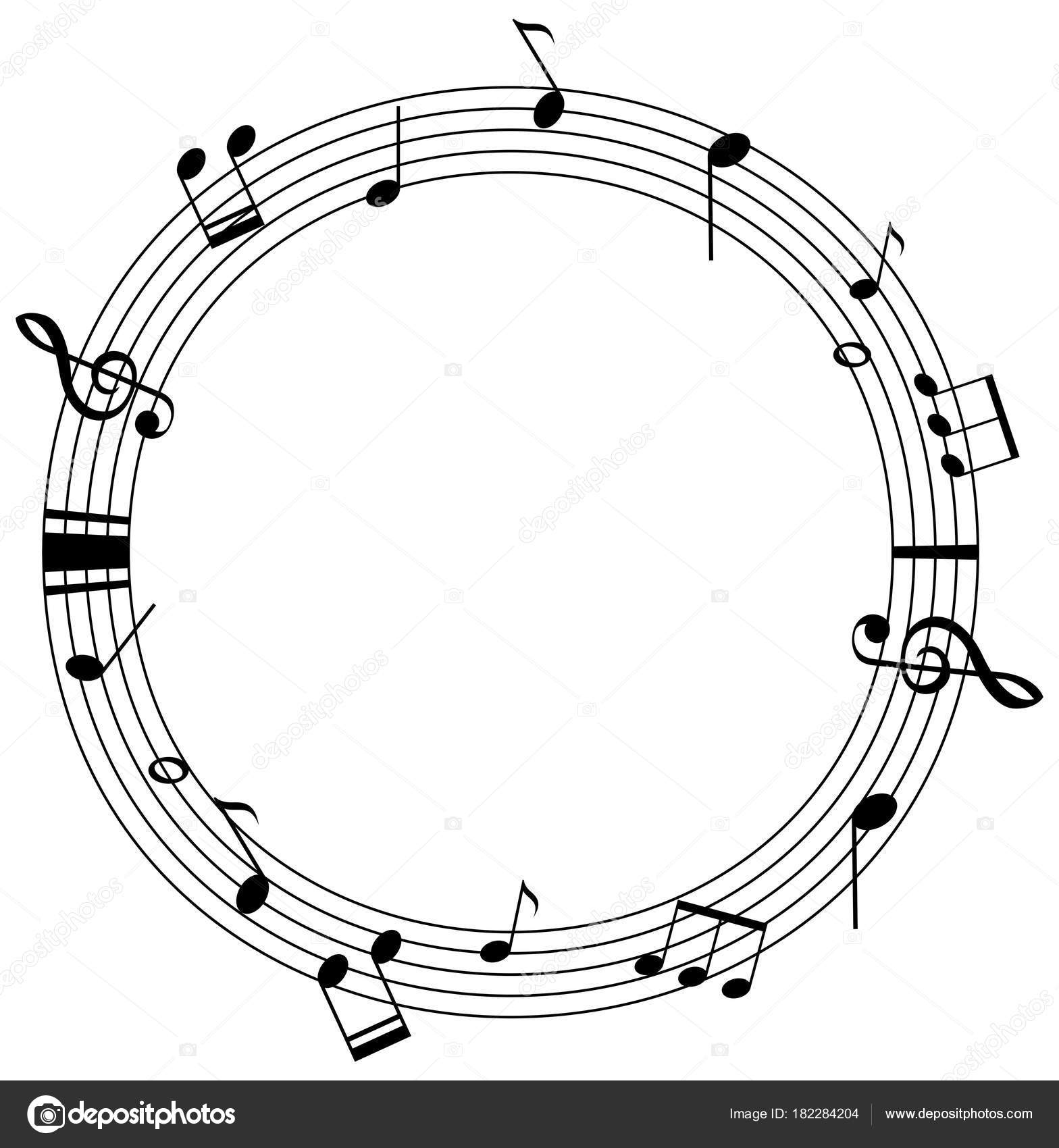 Round frame template with music notes on scales — Stock Vector ...