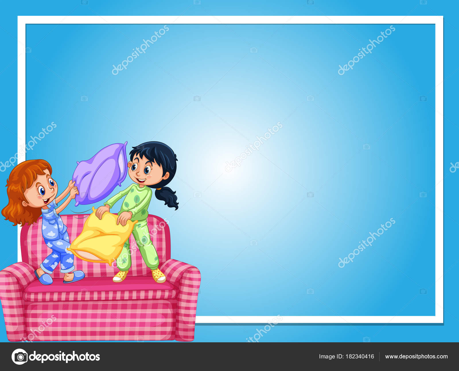 Plantilla de frontera con las muchachas y pelea de almohadas ...
