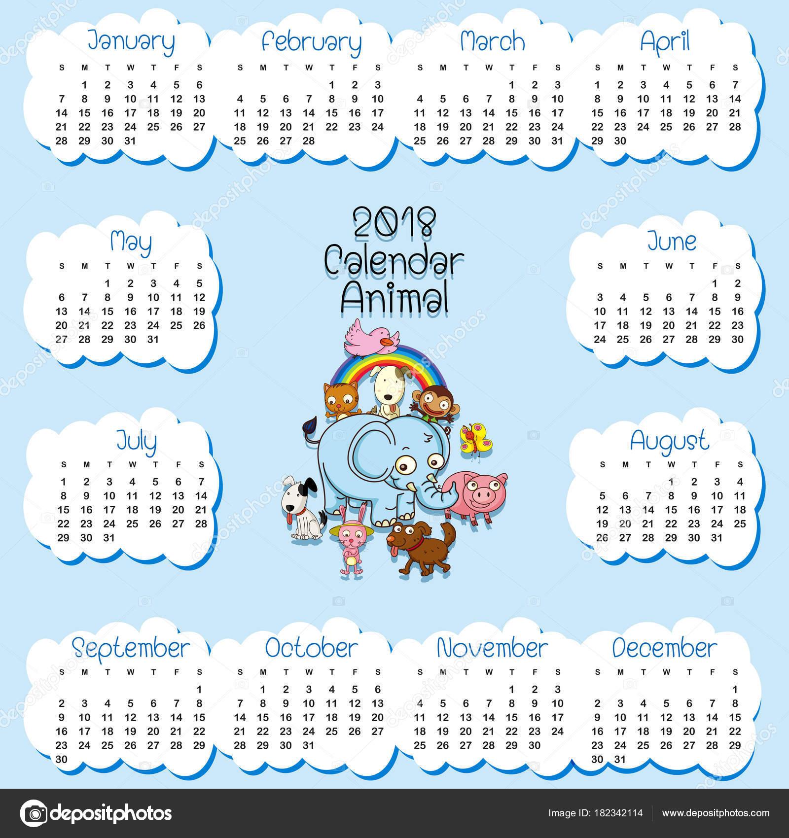 Calendario plantilla para 2018 con muchos animales — Vector de stock ...