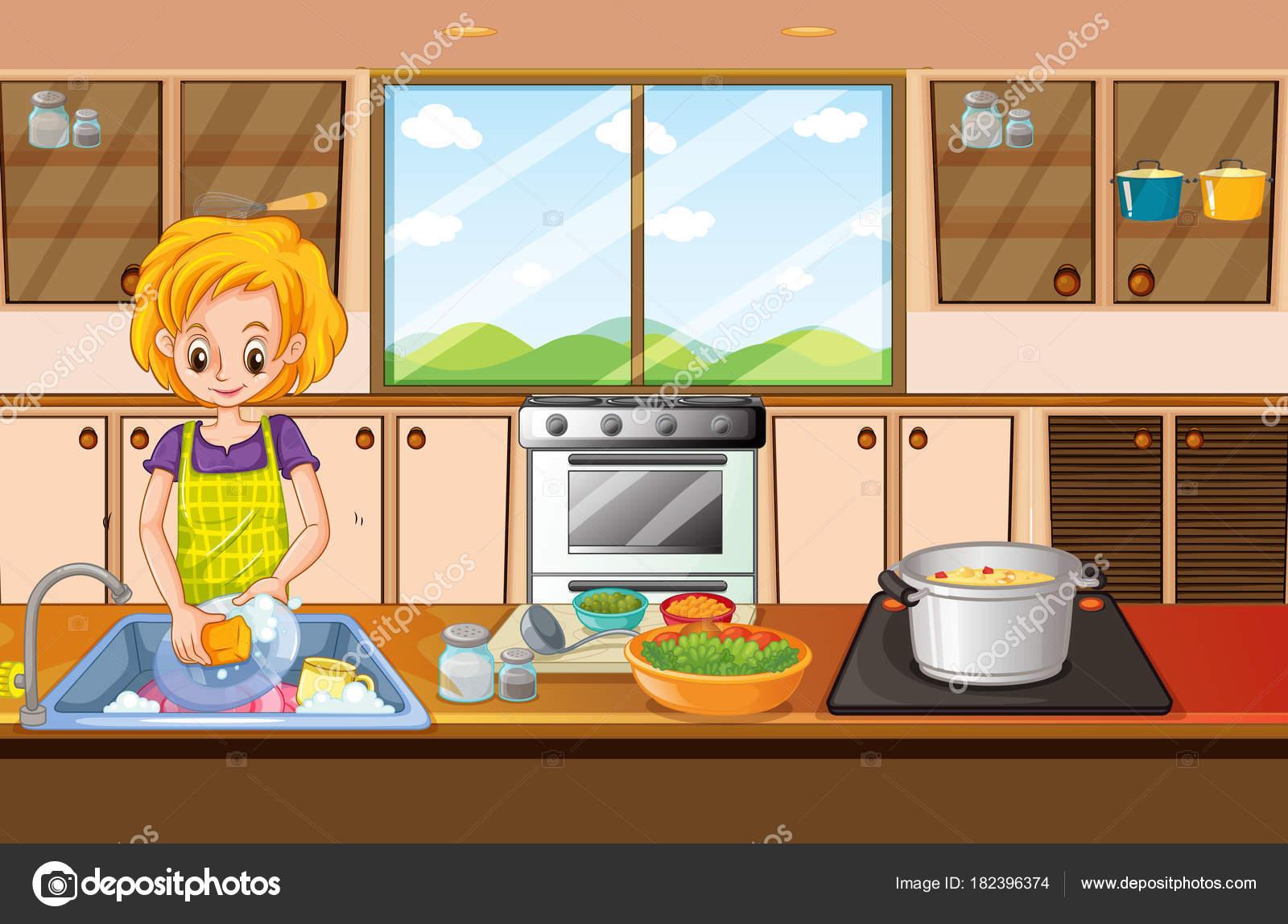 在厨房里做菜的女人 图库矢量图像 169 Interactimages 182396374