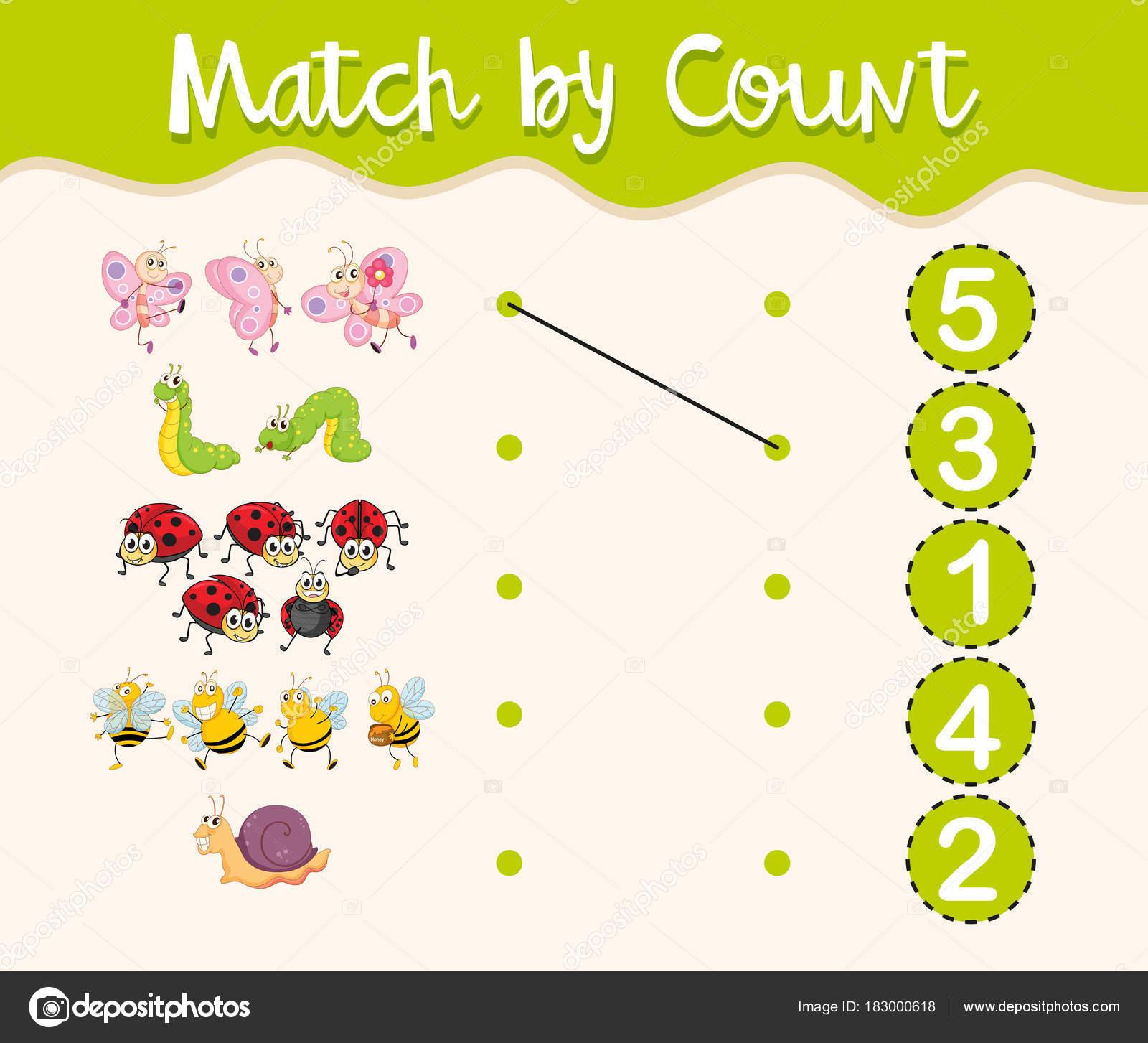 Hoja de trabajo de matemáticas con insectos y números — Archivo ...