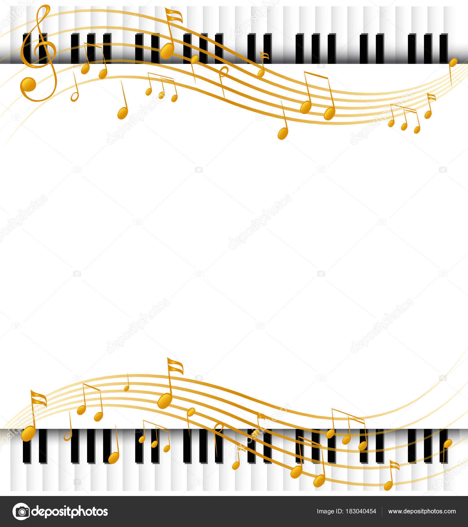 border template with with piano keyboards and musicnotes stock