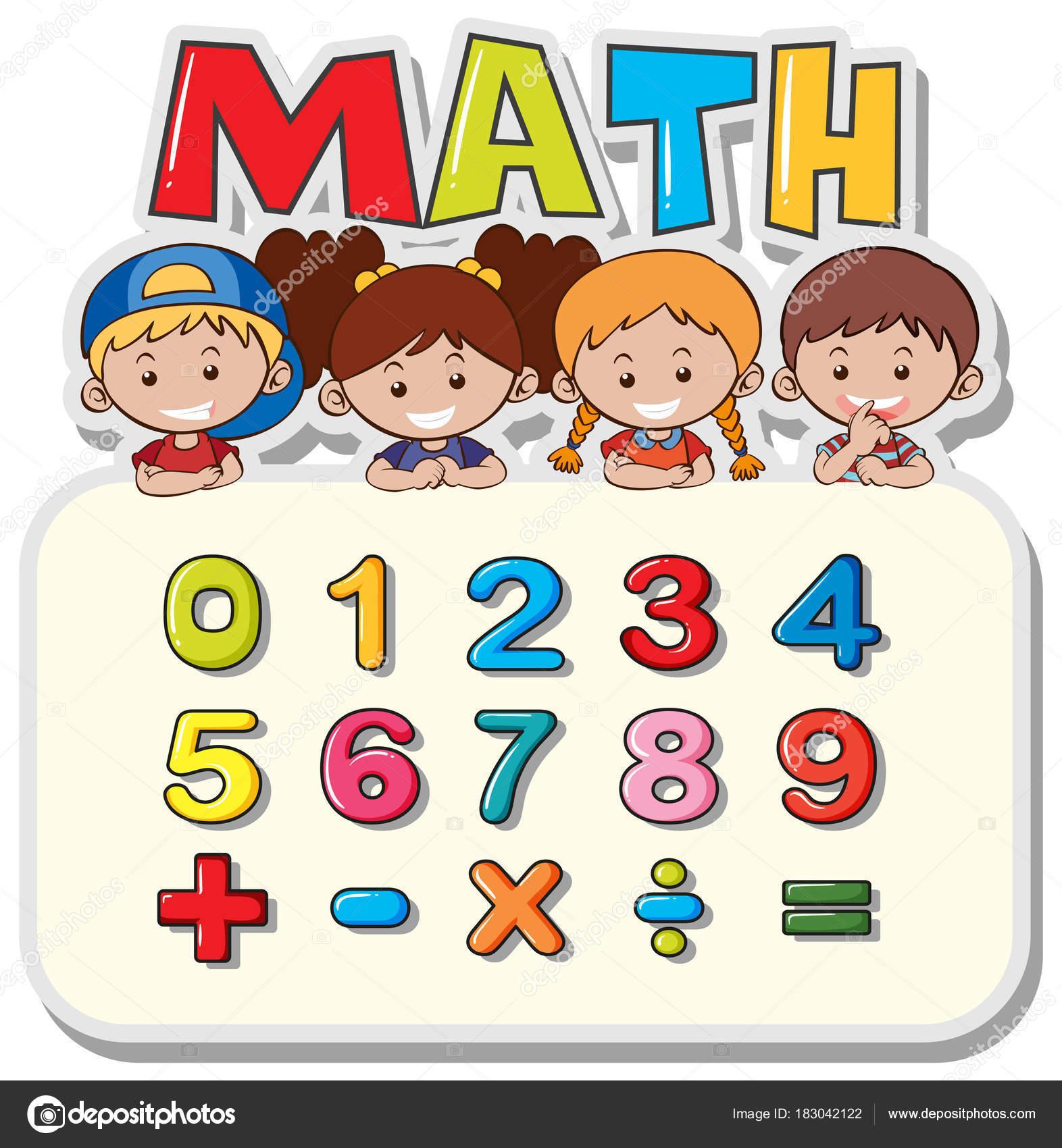 Mathe Arbeitsblatt mit Kindern und Zahlen — Stockvektor ...