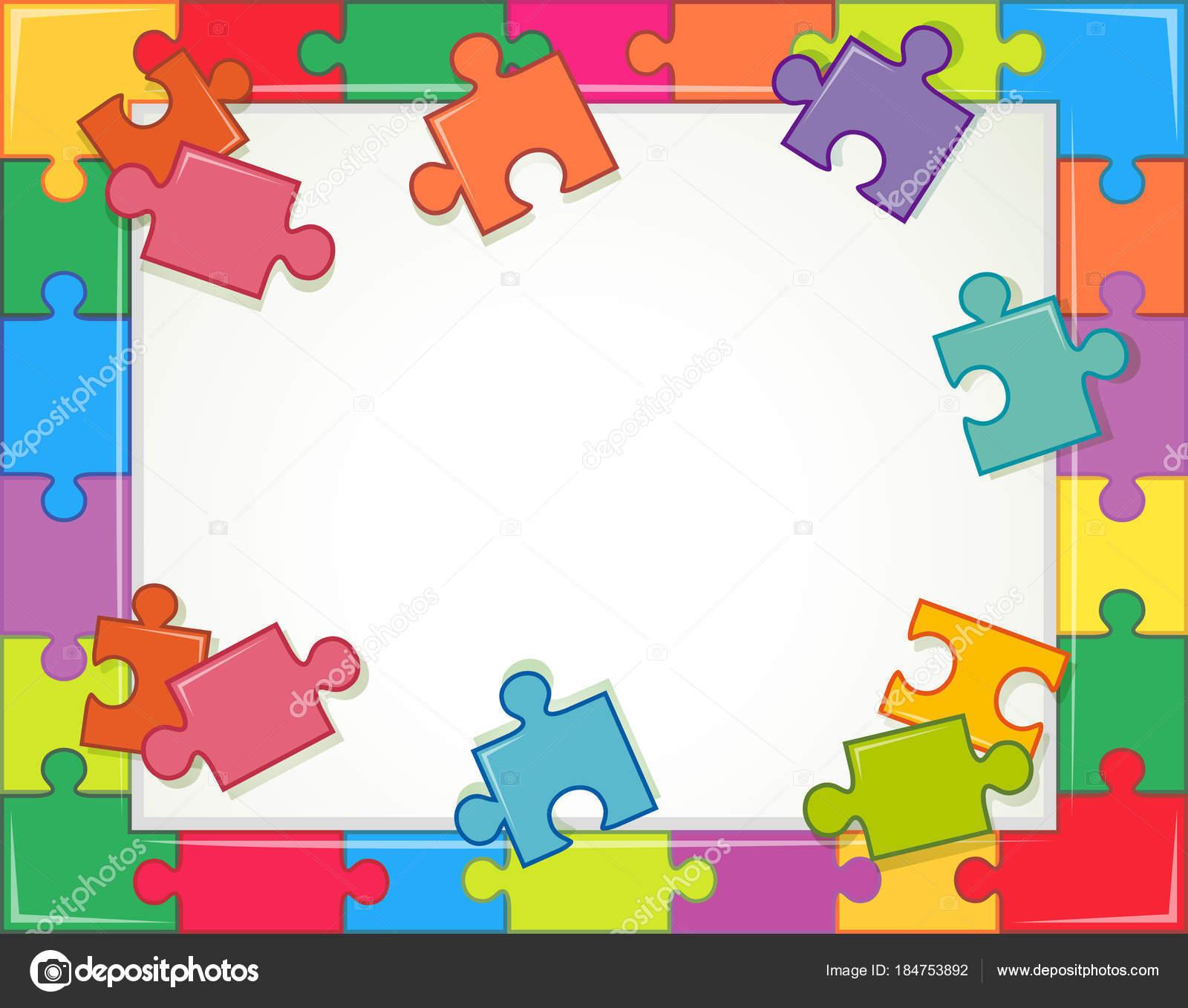 Plantilla de marco con piezas de rompecabezas — Vector de stock ...