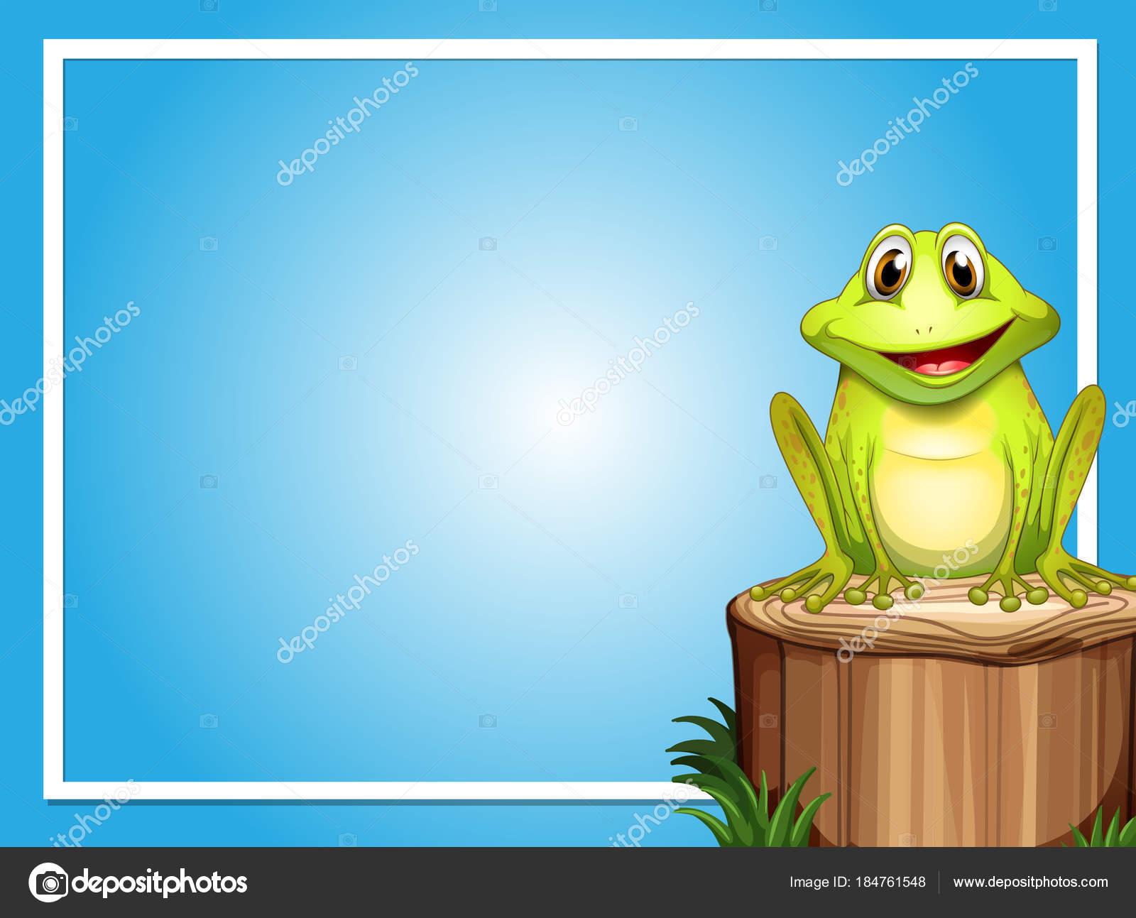 Plantilla de marco con rana feliz en el registro de — Vector de ...