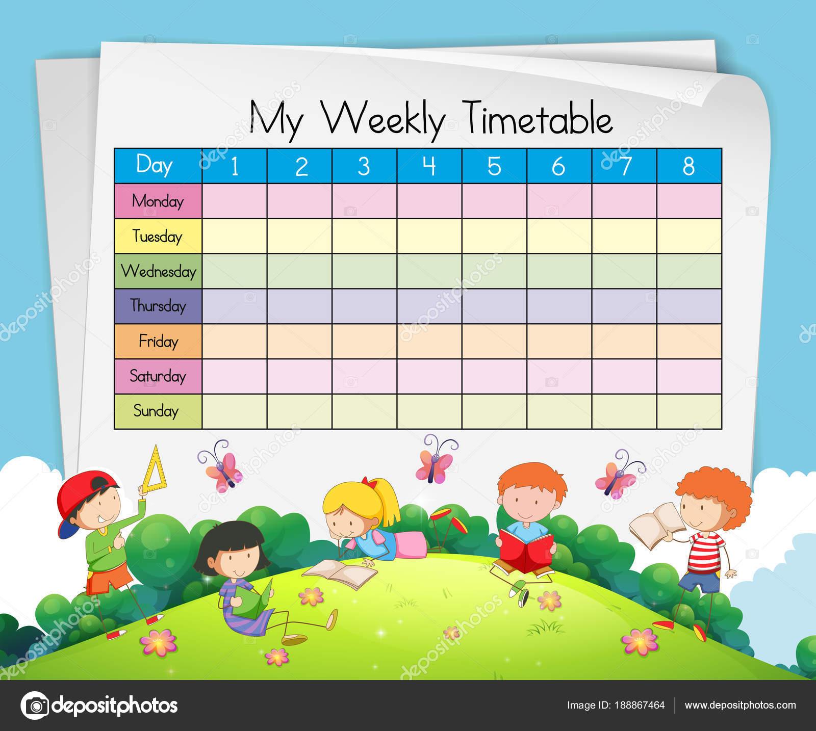 Plantilla de calendario semanal con los niños jugando en el Parque ...