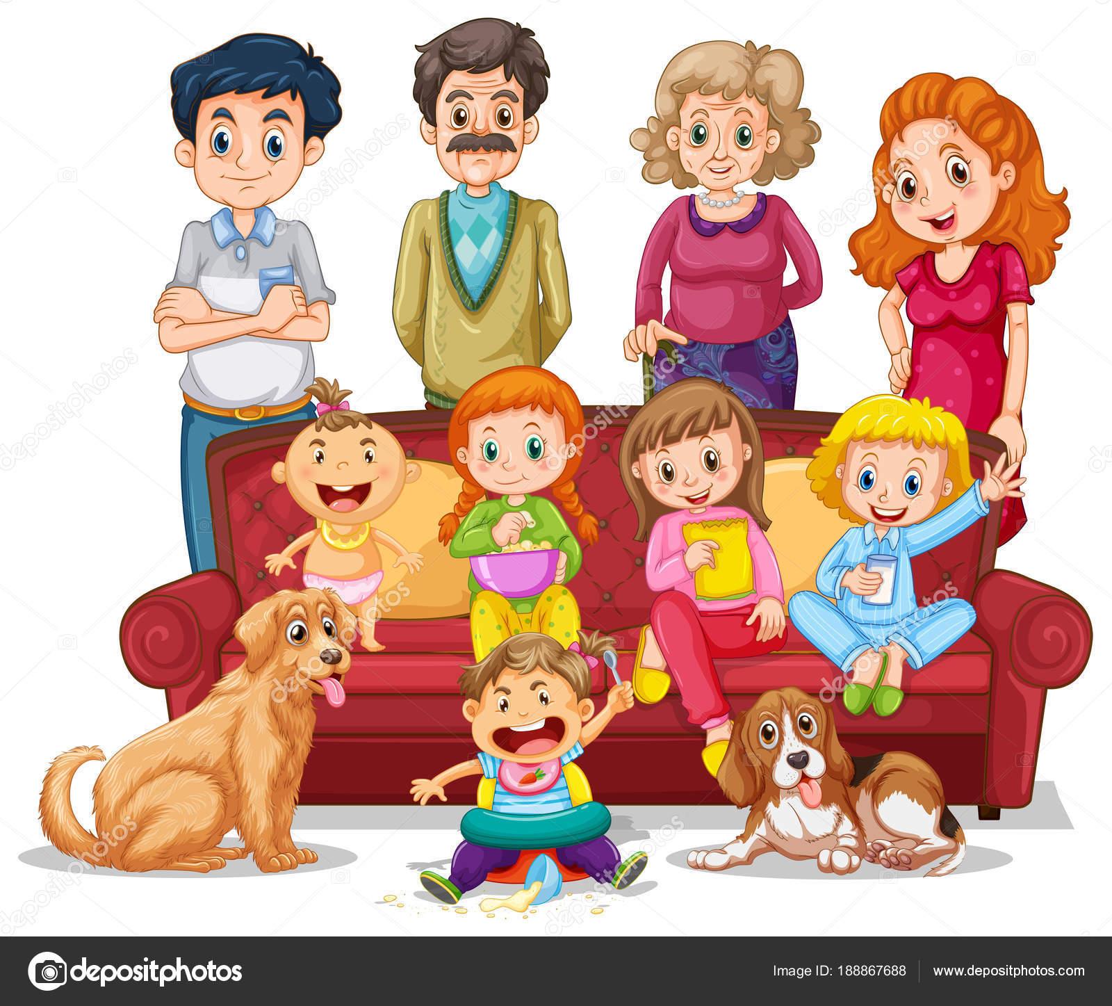 Persone in famiglia in soggiorno — Vettoriali Stock © interactimages ...