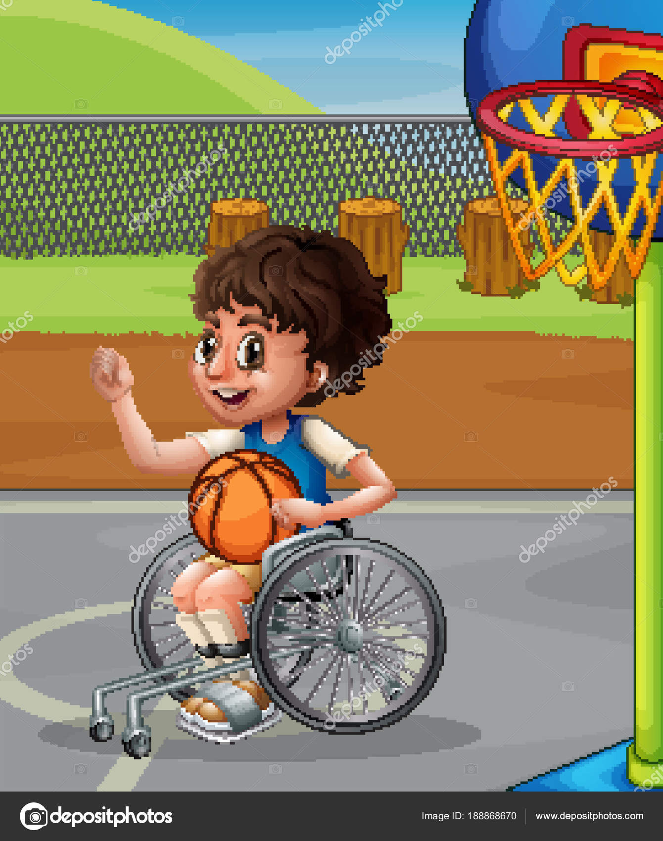 Ragazzo Sulla Sedia A Rotelle Giocare A Basket Vettoriali Stock