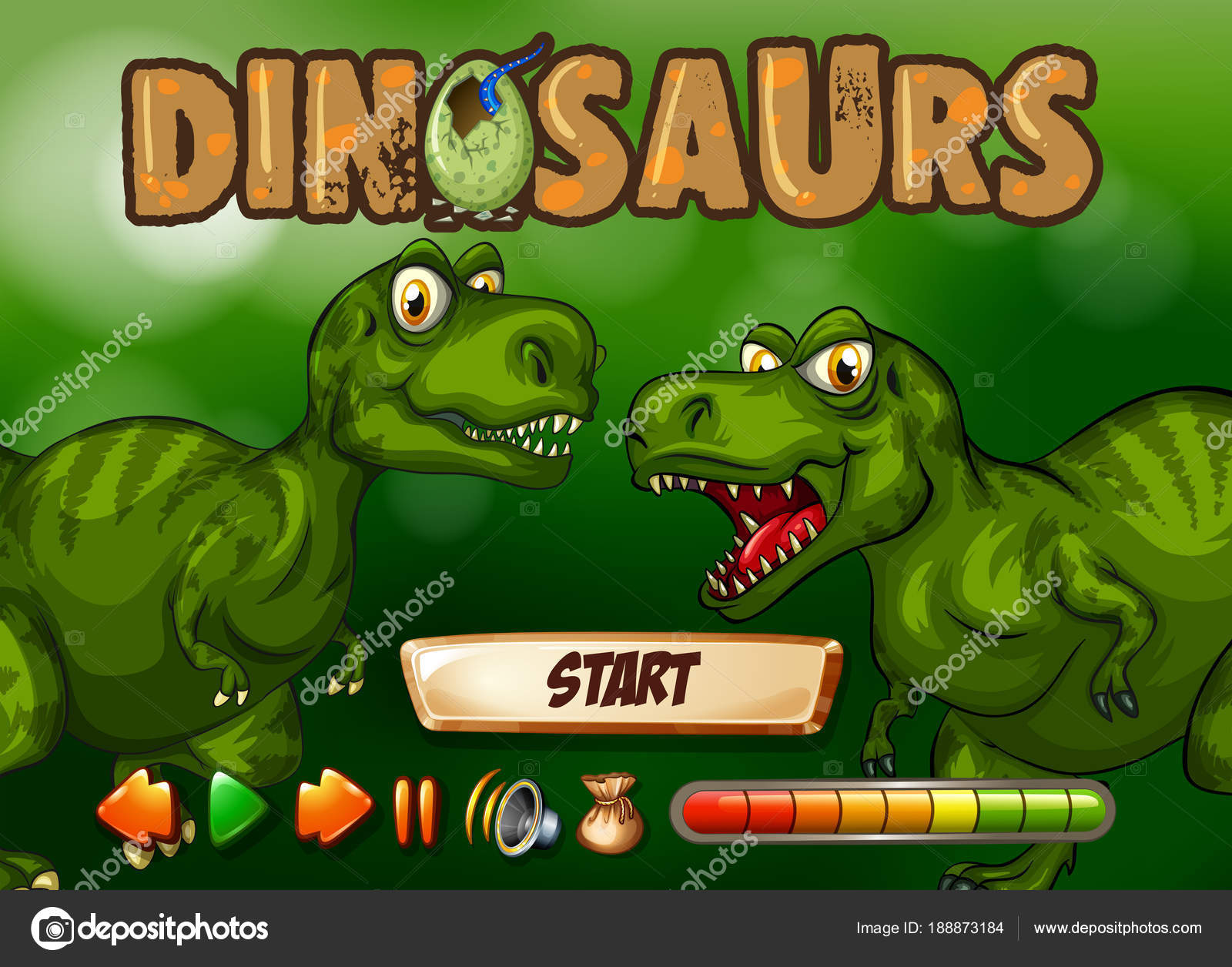 game template with t rex in background stock vector