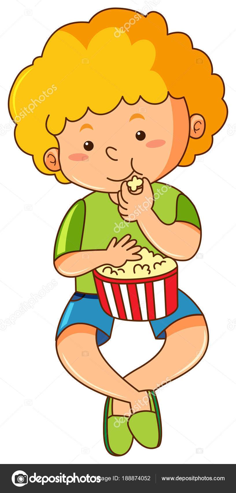 Little Boy Eating Popcorn Stock Vector Interactimages 188874052