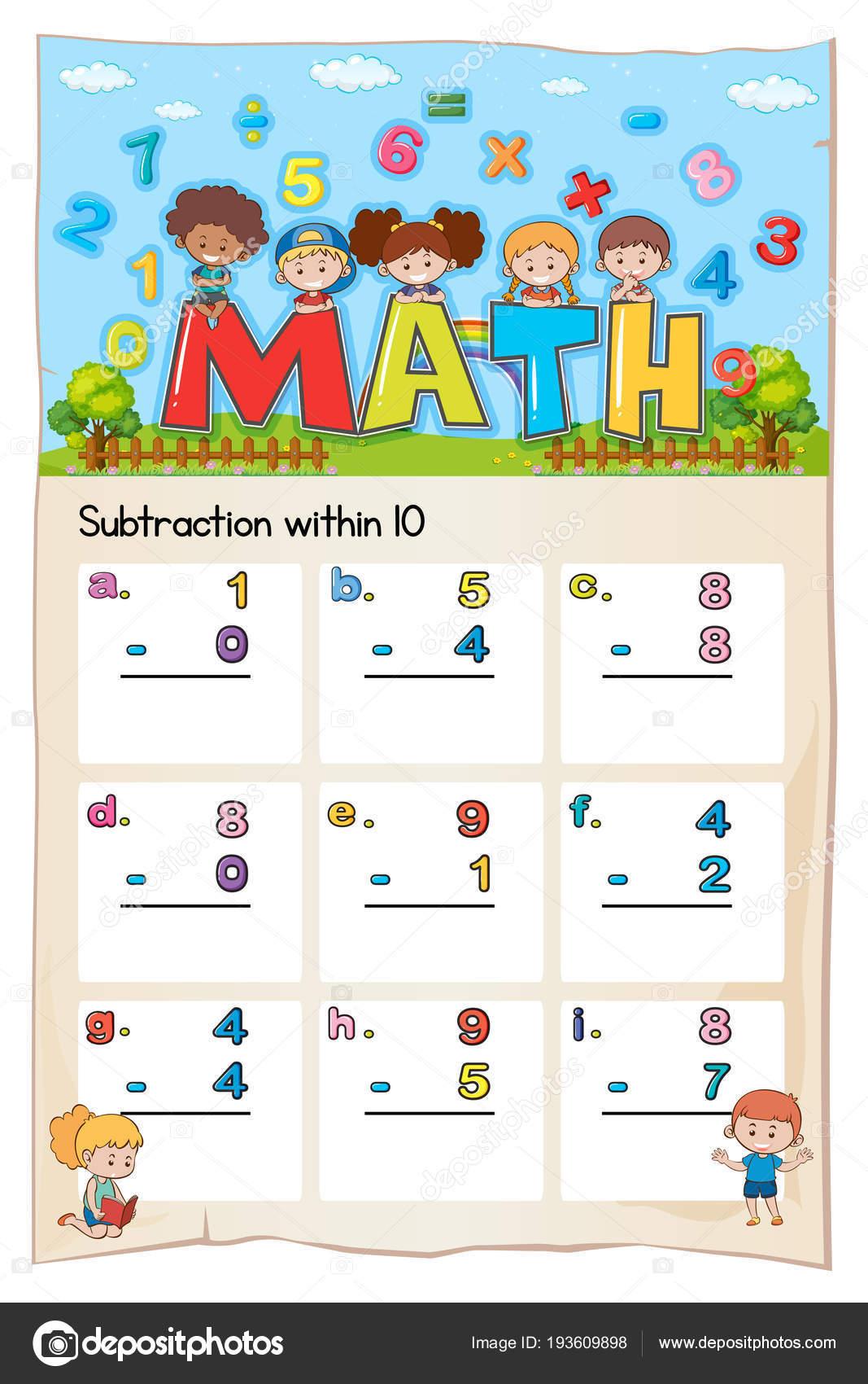 Hoja de trabajo de matemáticas para sustracción dentro de diez ...