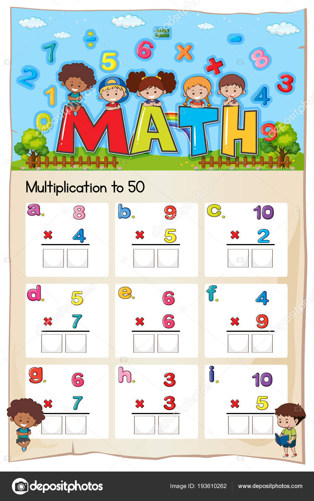 Mathematik Multiplikation Arbeitsblatt für Schüler — Stockvektor ...