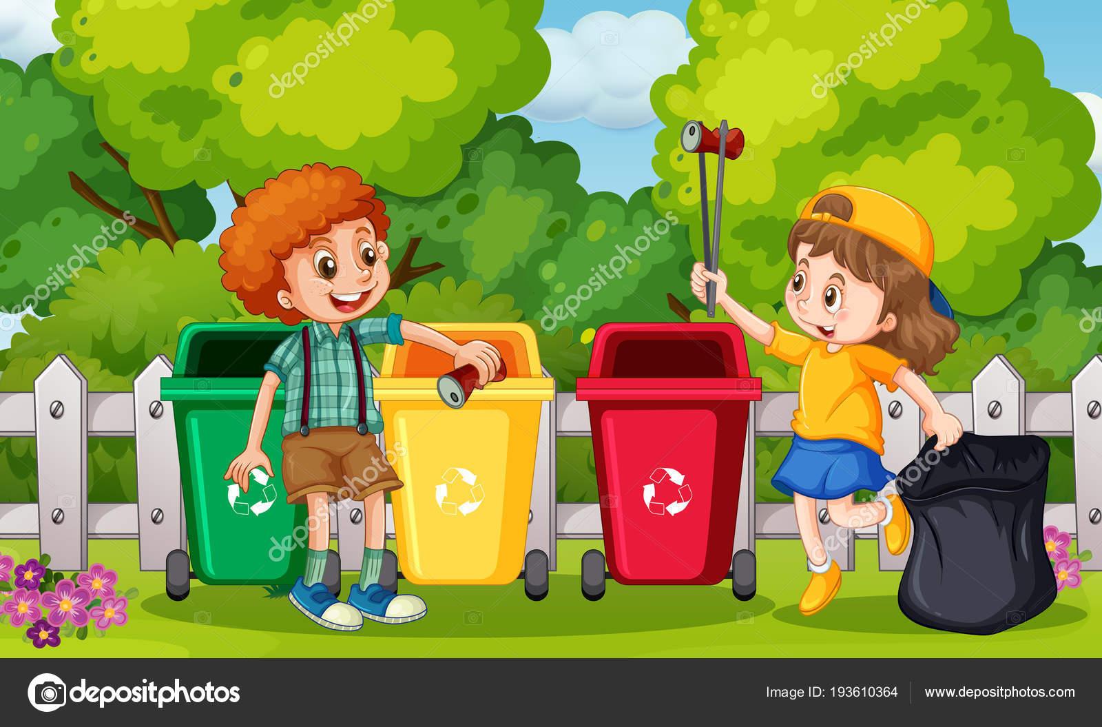 Дети, сбор мусора в саду