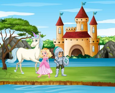 Scene with knight and princess by the castle