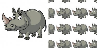 Seamless background design with cute rhino illustration