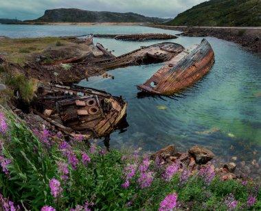 Abandoned ships near Teriberka. Russia
