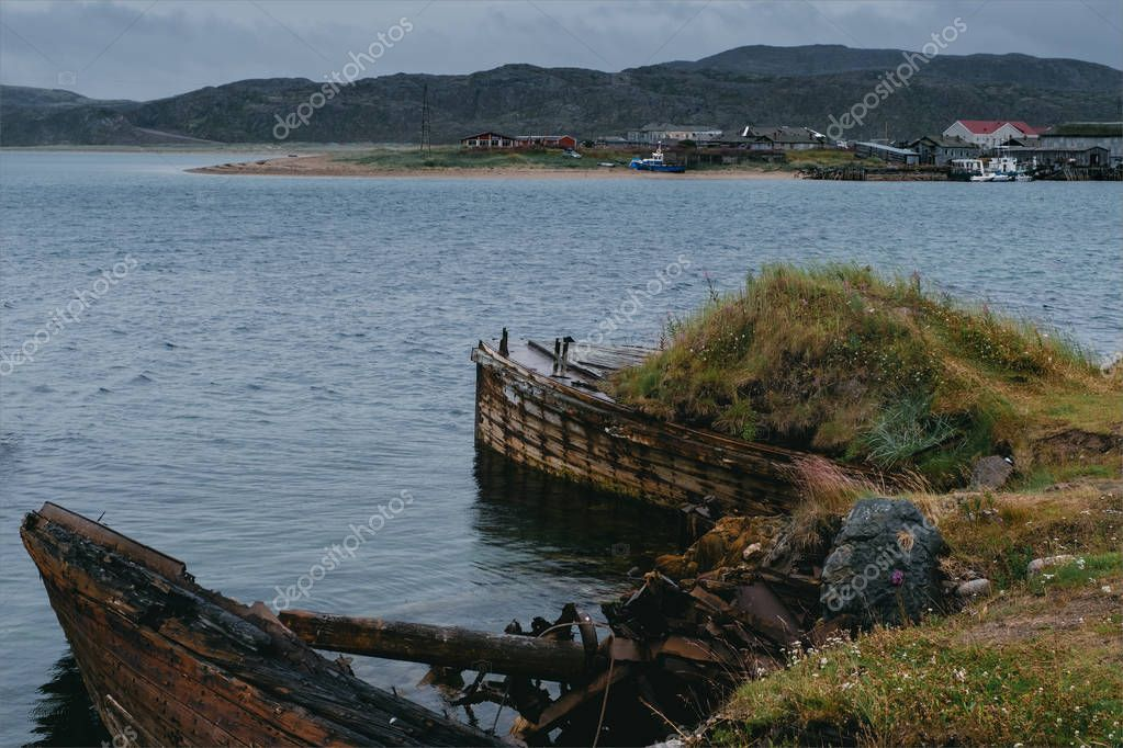 Abandoned ships near Teriberka. Russia
