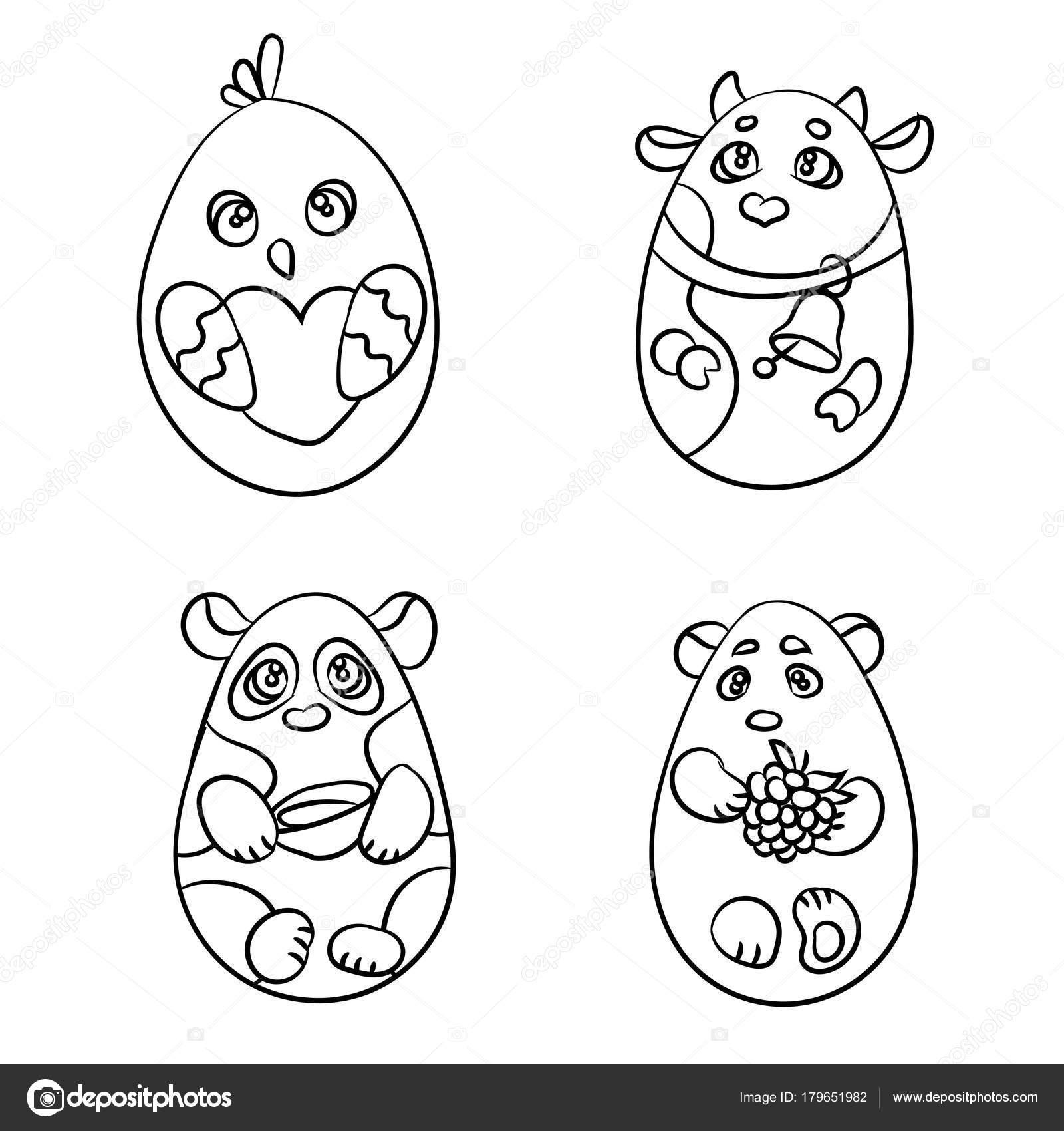 Página para colorear juego de 4 animales lindos en forma de huevo de ...