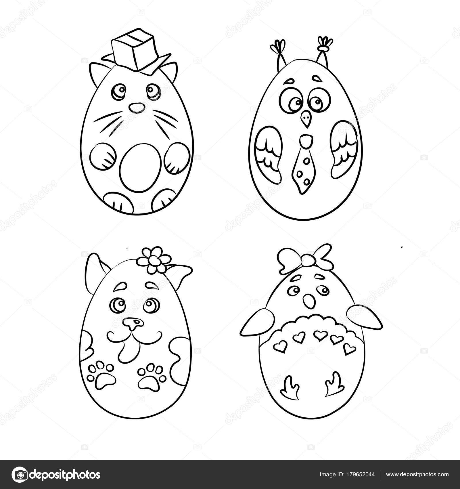 Set con 4 lindos animales en forma de huevos de Pascua para colorear ...