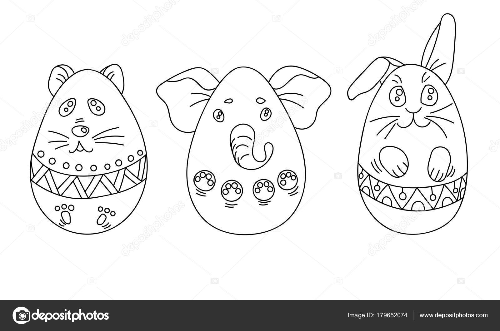 Coloring Set With Easter Eggs In A Shape Of Animals Ornamen