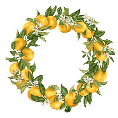 Citrus orange tree ornament wreath with fruits, flowers and leav