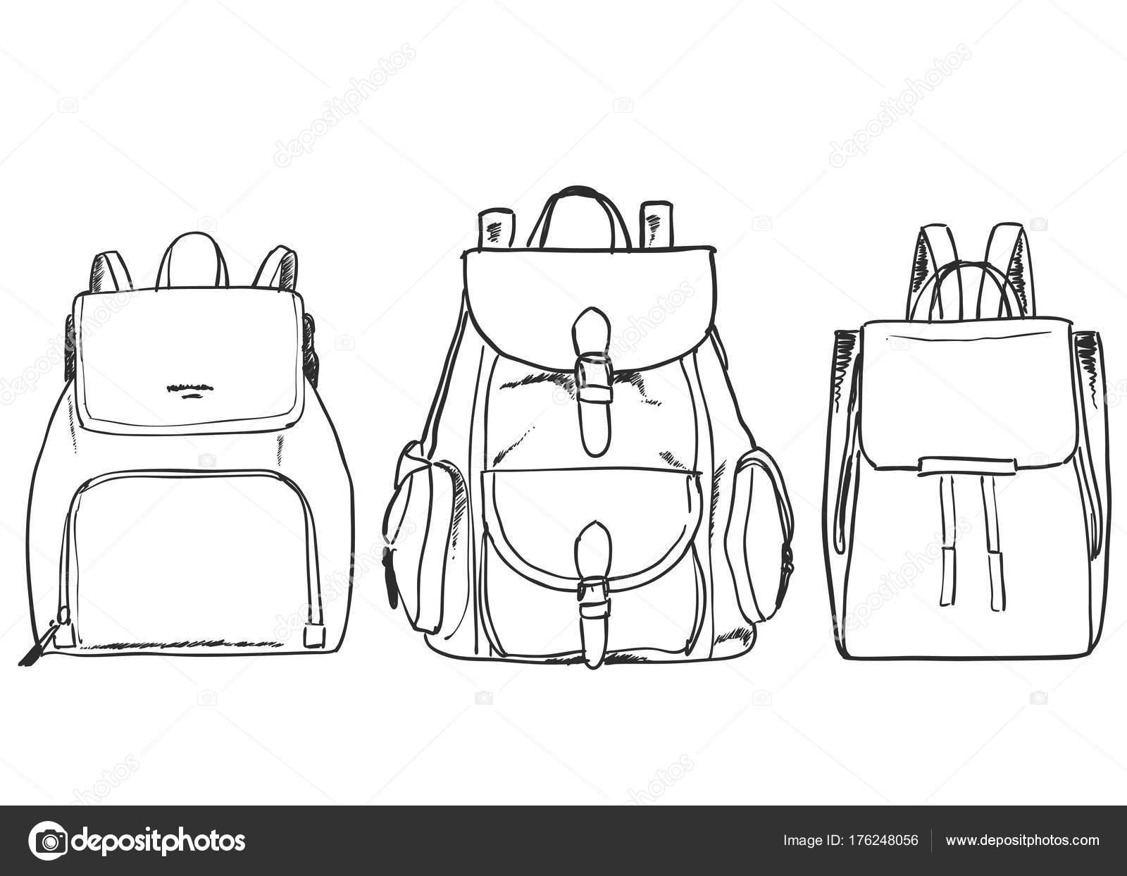 4e2302a7806 Een verzameling van verschillende soorten rugzakken. Tas voor reizen —  Stockvector