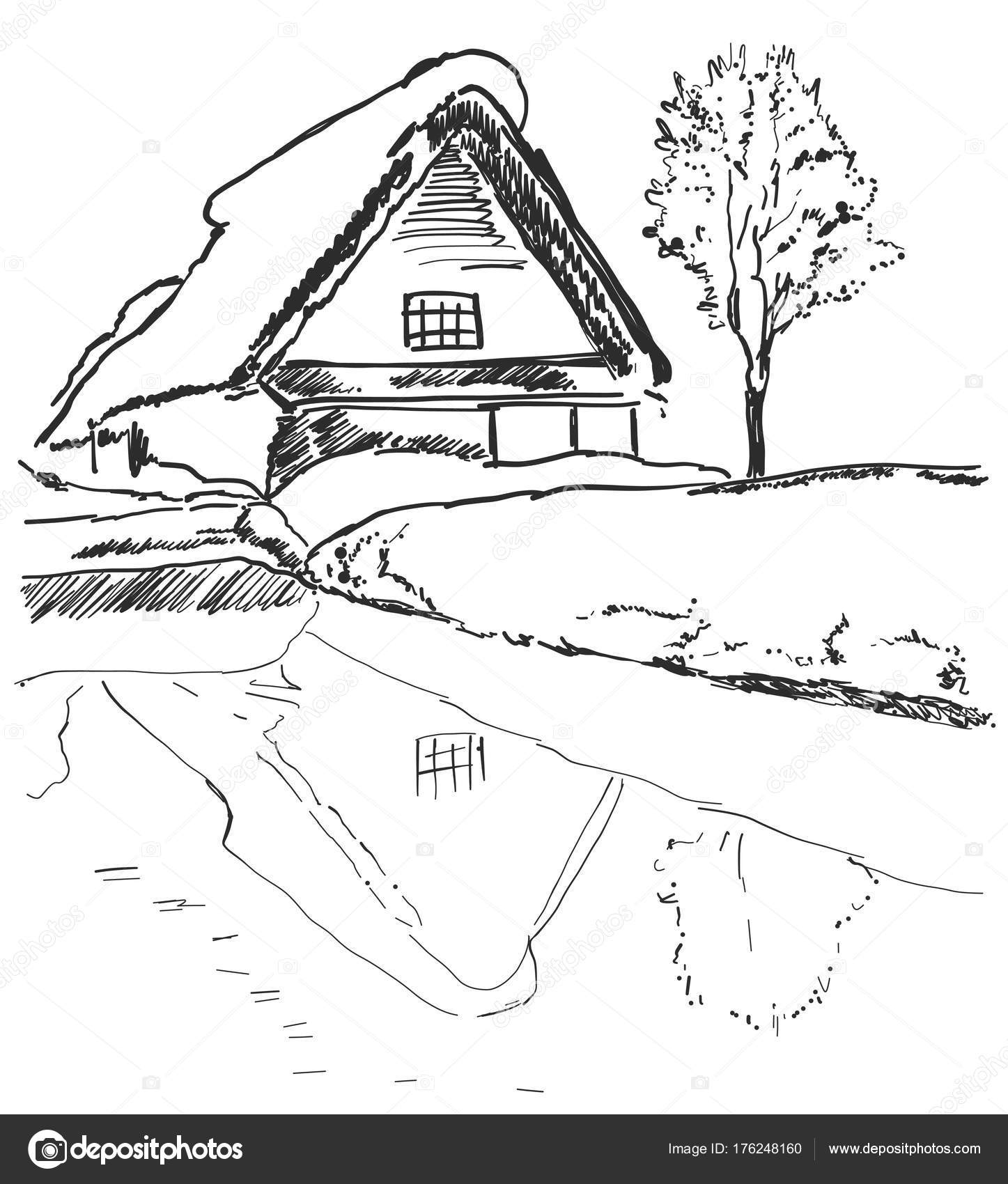 Hill, lake, house, tree  Landscape sketch  Mirror image