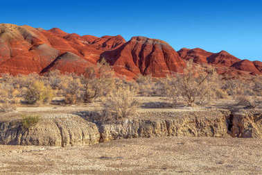 Red mountains in the territory of the national nature reserve  Altyn-Emel