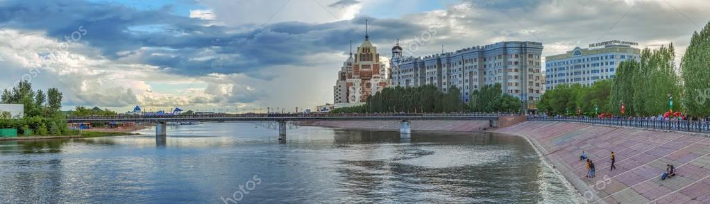 Panoramic view of the pedestrian bridge over the river Ishim/ Astana, Kazakhstan