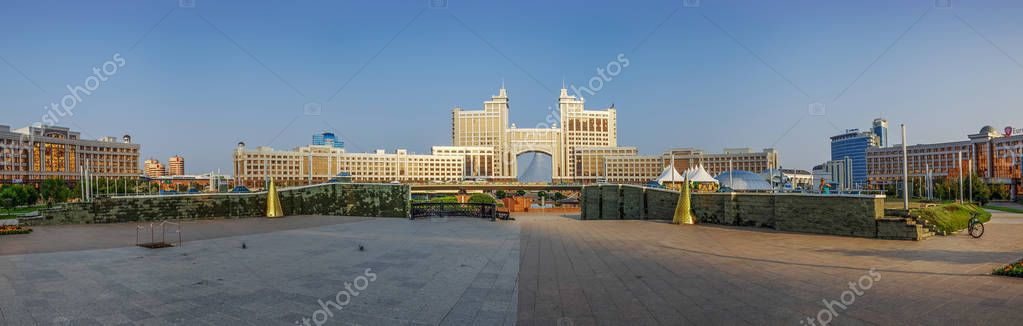 Panorama of the administrative center of Astana in the morning light. Kazakhstan