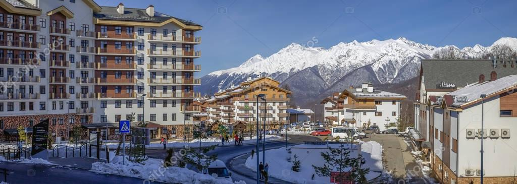 SOCHI, RUSSIA - JANUARY 3, 2018: Hotels in the ski resort of Rosa Khutor