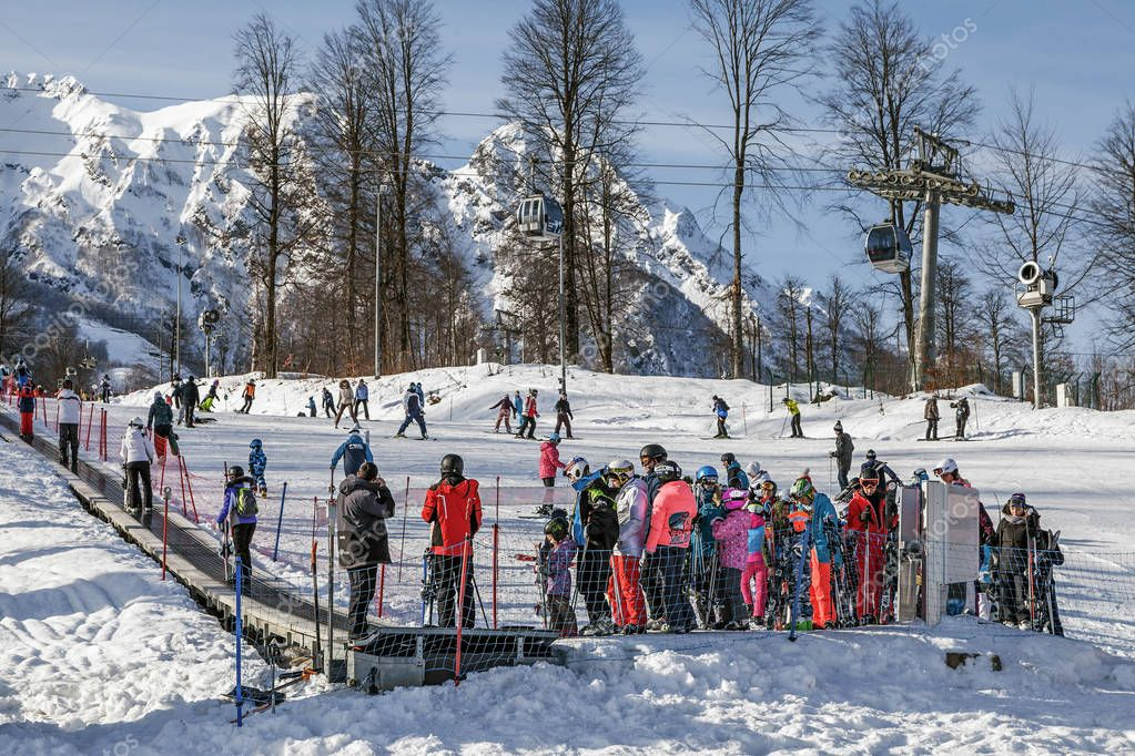 SOCHI, RUSSIA - JANUARY 3, 2018: Queue on the ski lift, ski resort Rosa Khutor