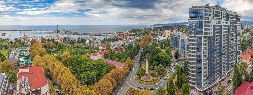 SOCHI, RUSSIA - SEPTEMBER 1, 2017: Panoramic view of the city.