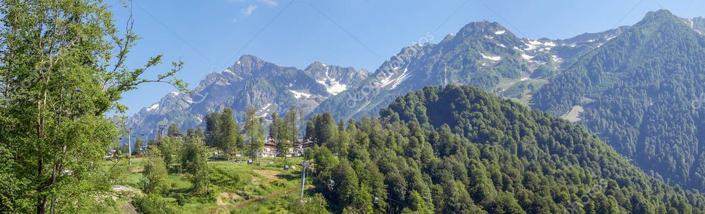 SOCHI, RUSSIA - JULY 2, 2017: Mountain panorama of Rosa Khutor resort.