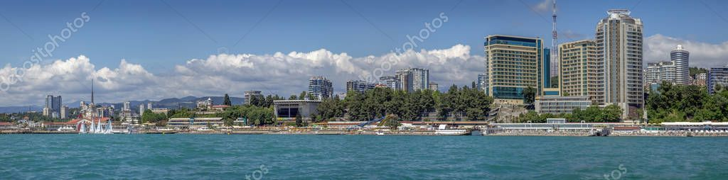 SOCHI, RUSSIA - JUNE 17, 2017: Panoramic view from the sea.