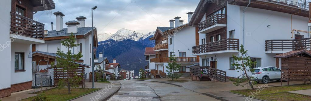 SOCHI, RUSSIA - March 29, 2017: Cottages in ski resort of Rosa Khutor.