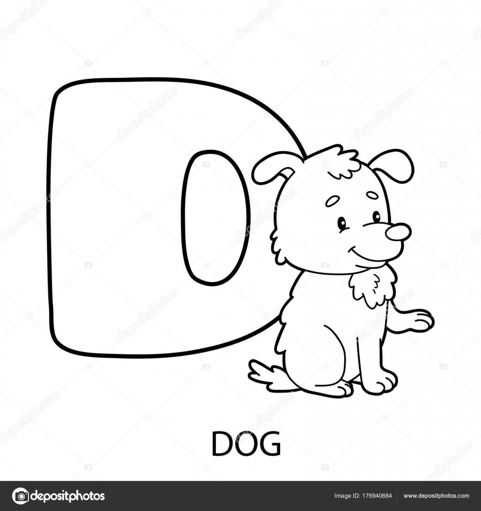 Página Para Colorear Alfabeto Ilustración Vector Personaje Dibujos ...