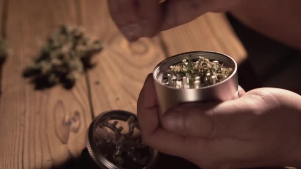 Schleifen Zapfen von Marihuana mit einer Schleifmaschine Nahaufnahme. Unkraut, Knospen und Grinder im Detail