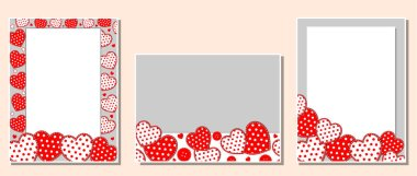 Set of greeting frames and cards with red and white hearts with a blank background for text.