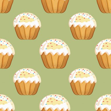 Seamless pattern with Easter cakes with sprinkles on an olive background