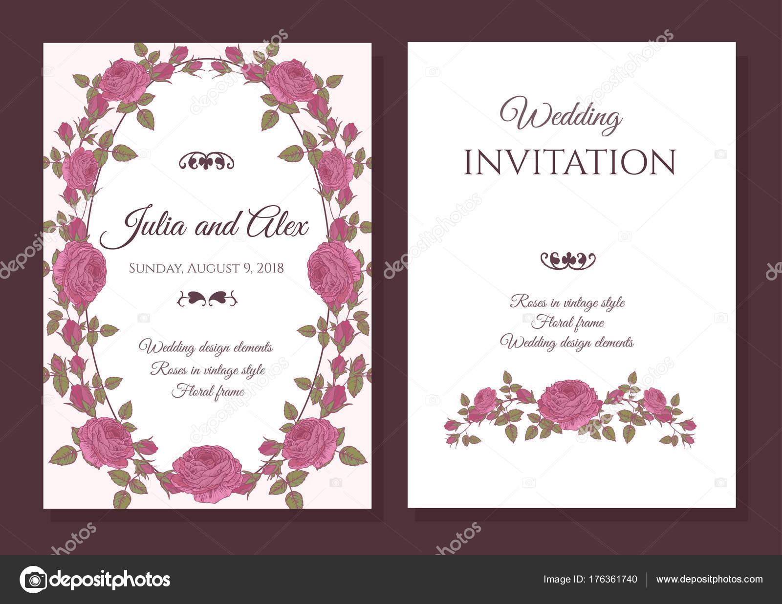 Vektor Floral Hochzeit Einladungskarte Mit Rahmen Aus Rosa Rosen