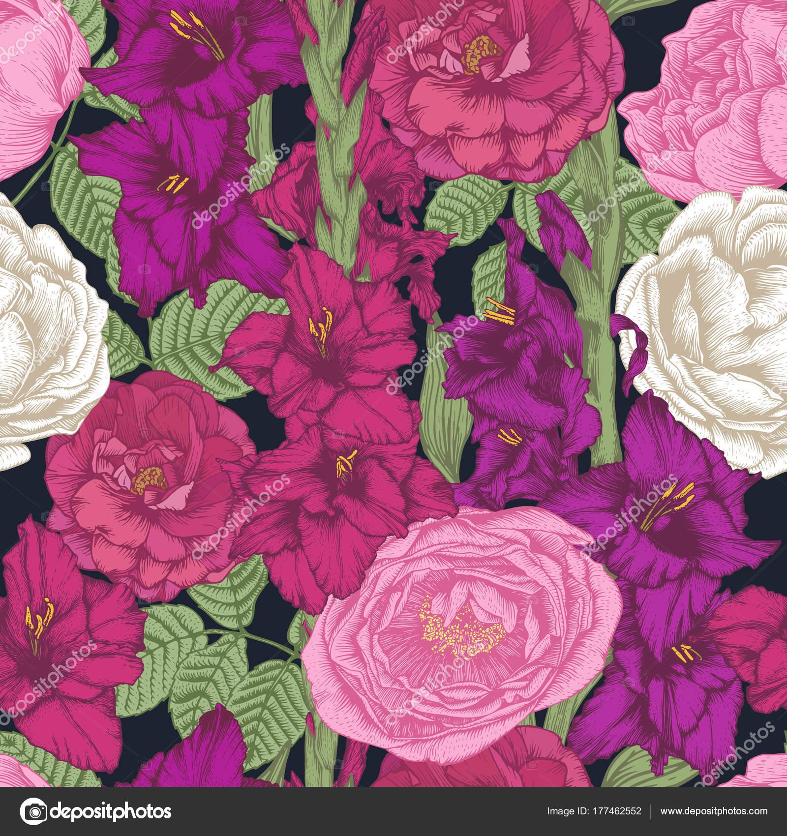 Vektor Florales Nahtloses Muster Mit Hand Gezeichnet Gladiolen ...