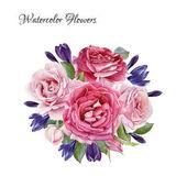 Virág-kártya. Csokor Rózsa akvarell és krókuszok. Illusztráció