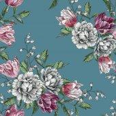 Fotografie Floral nahtlose Muster mit Aquarell Tulpen und Rosen