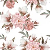 Floral seamless pattern with peonies and hellebore