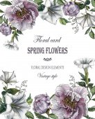 Blumen-Grußkarte mit Pfingstrosen und Datura-Blume