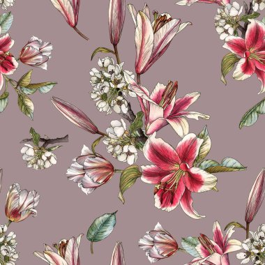 Floral seamless pattern with watercolor lilies, tulips and white apple blossom