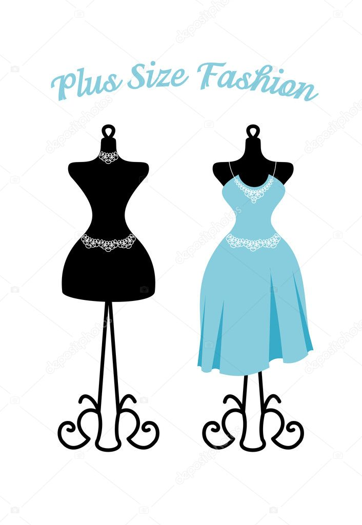 Mannequin With Blue Dress Plus Size And Empty Black Mannequin