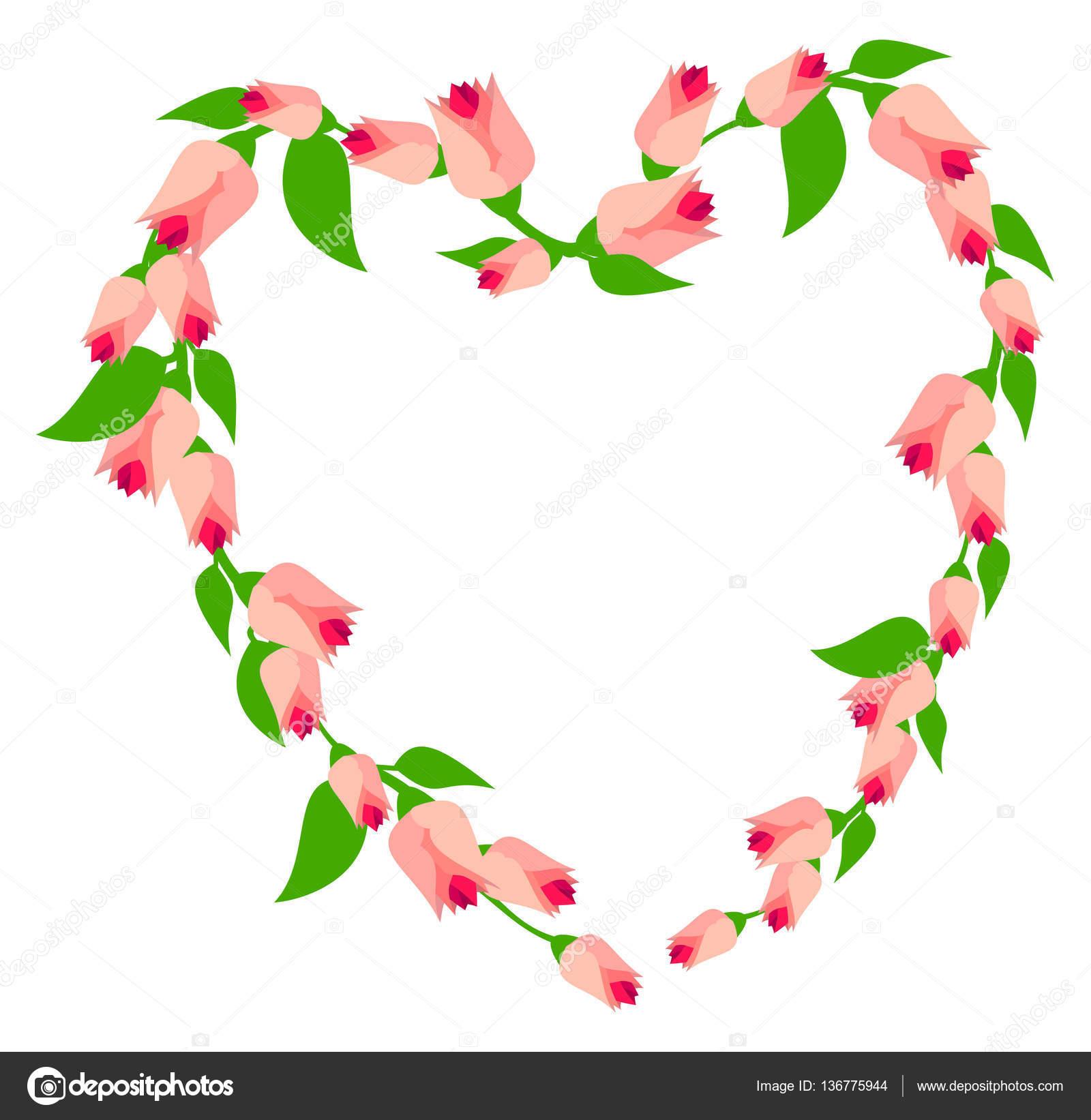 Marco de corazón grande de flores rosadas — Foto de stock © LlamaRu ...